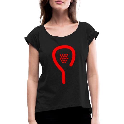raquette rouge - T-shirt à manches retroussées Femme