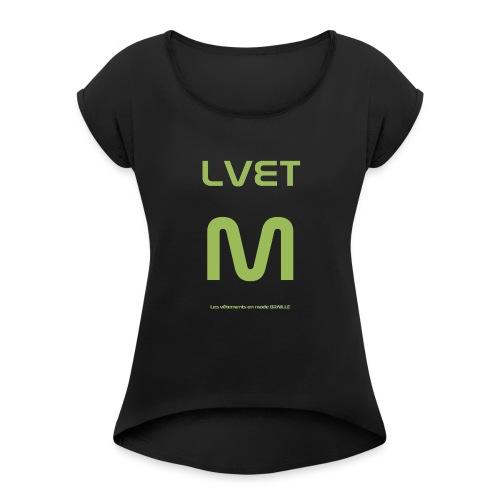 LVET M vert olive - T-shirt à manches retroussées Femme