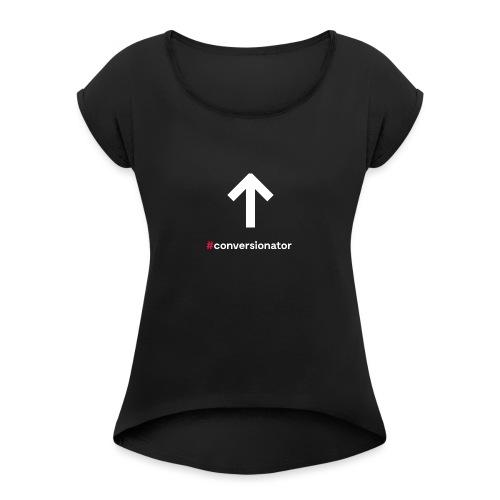 Conversionator mit Pfeil ohne Kreis - Frauen T-Shirt mit gerollten Ärmeln
