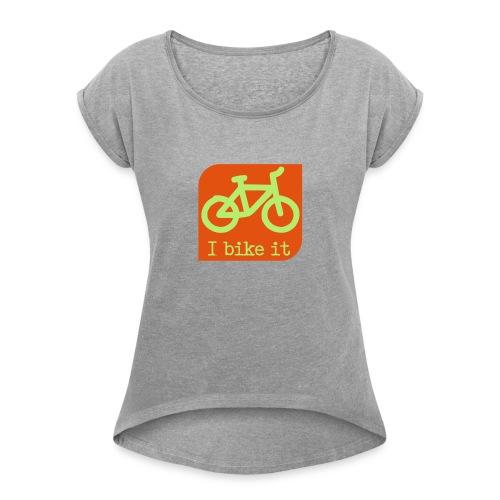 fiets logo - Vrouwen T-shirt met opgerolde mouwen