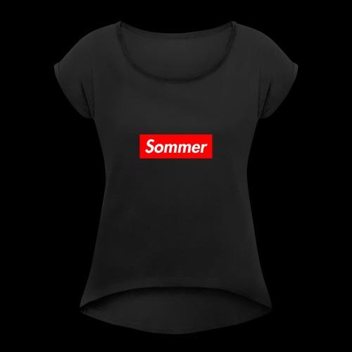 Sommer Logo - T-skjorte med rulleermer for kvinner