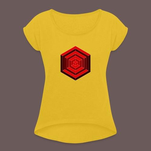 Hexagon Cube - Dame T-shirt med rulleærmer