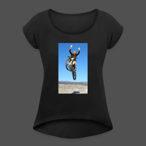 Stuntvrouw (v) - Vrouwen T-shirt met opgerolde mouwen