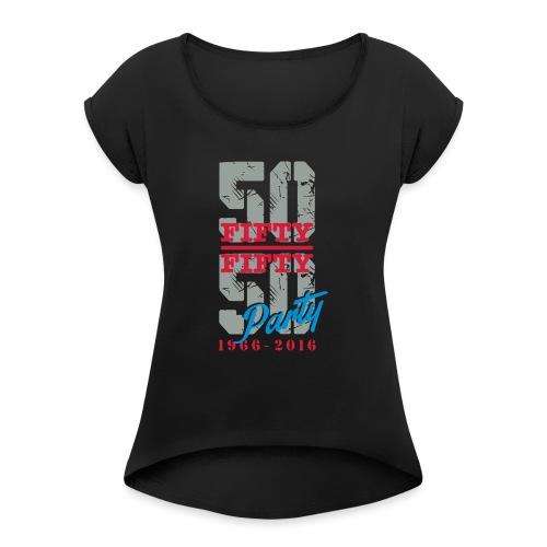 petit logo - T-shirt à manches retroussées Femme