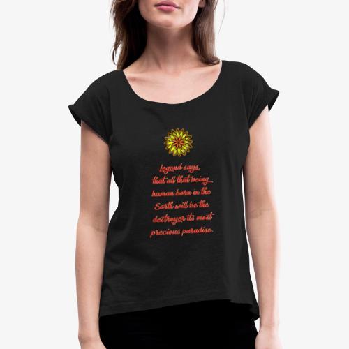 SOLRAC Legend Says Black - Camiseta con manga enrollada mujer