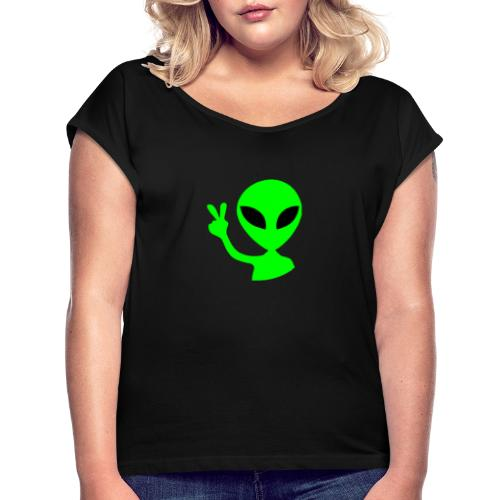 Peace out Alien - Women's T-Shirt with rolled up sleeves