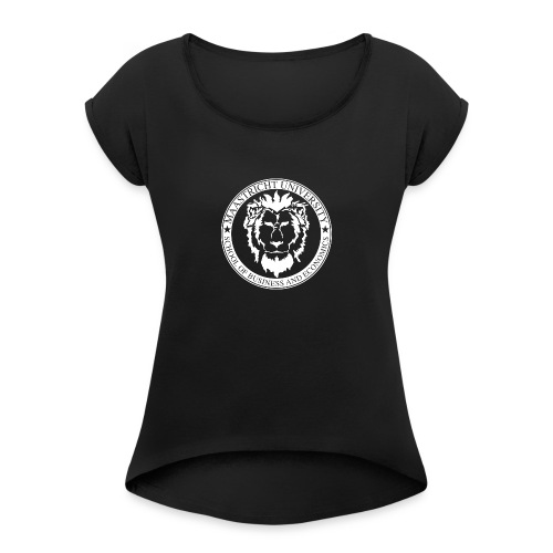 SBE Lion White - Women's T-Shirt with rolled up sleeves