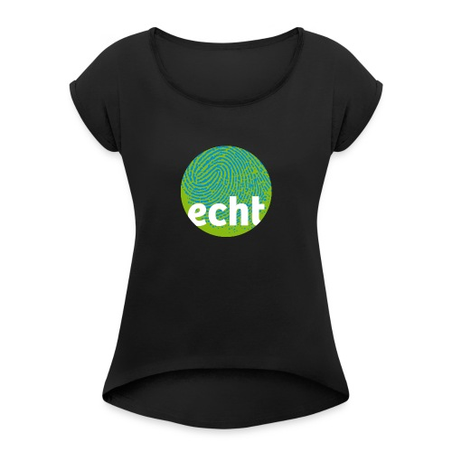echt.cloppenburg Stadtmarke Grün - Frauen T-Shirt mit gerollten Ärmeln