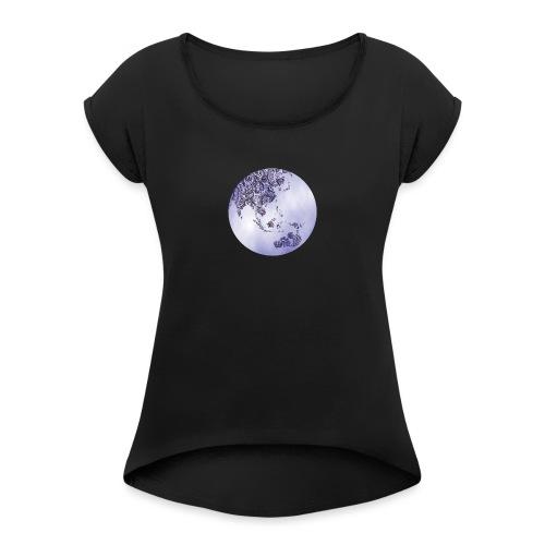 logo monde bleu - T-shirt à manches retroussées Femme