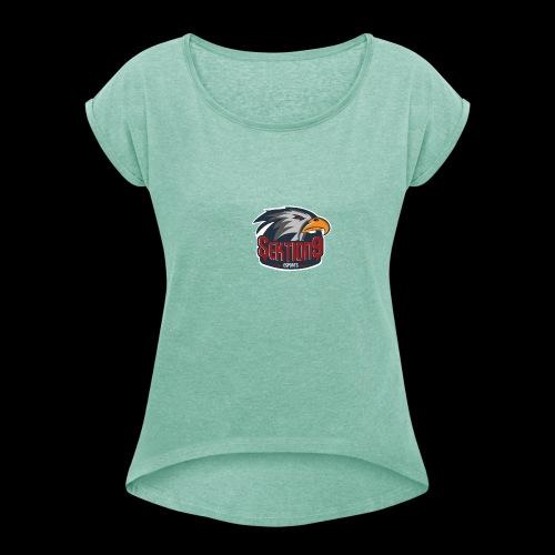 Sektion9 logo Grau - Frauen T-Shirt mit gerollten Ärmeln