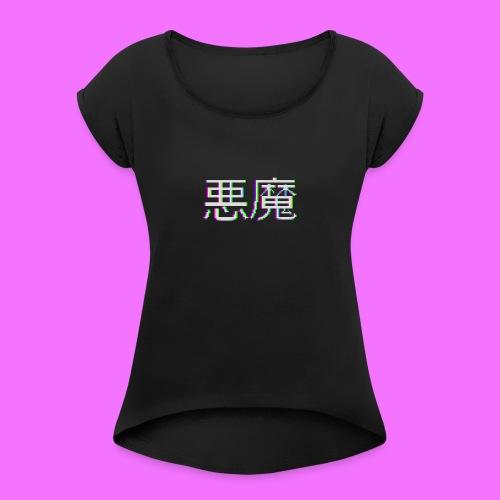 Akuma - Naisten T-paita, jossa rullatut hihat