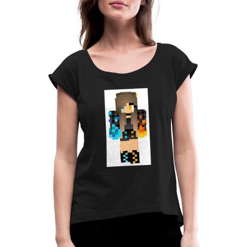 24Lea24 - Frauen T-Shirt mit gerollten Ärmeln