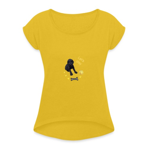 Giant Schnauzer puppy - Women's T-Shirt with rolled up sleeves