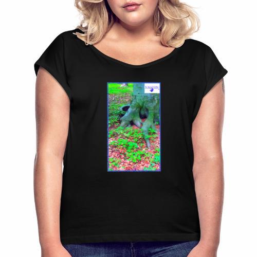 Natur Baum Wurzeln Maria 12 - Frauen T-Shirt mit gerollten Ärmeln