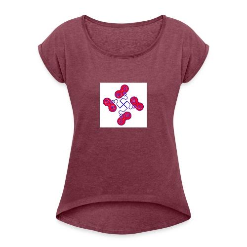 unkeon dunkeon - Naisten T-paita, jossa rullatut hihat
