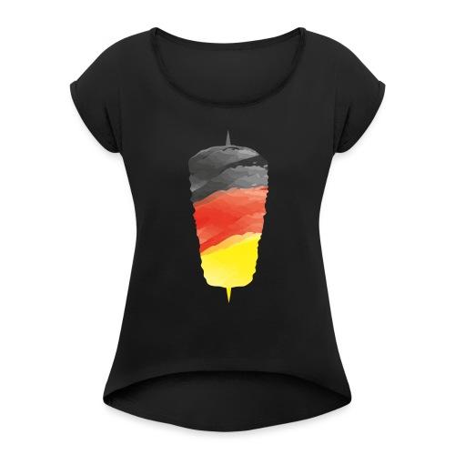 Dönerspieß copy - Frauen T-Shirt mit gerollten Ärmeln