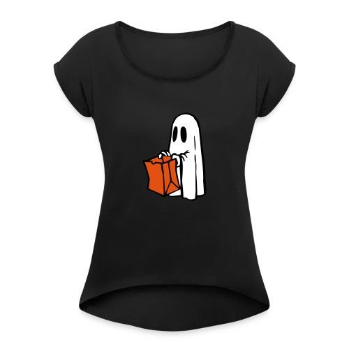 Geist mit Tüte 3farbig - Frauen T-Shirt mit gerollten Ärmeln