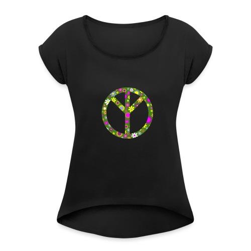 Peace png - Frauen T-Shirt mit gerollten Ärmeln