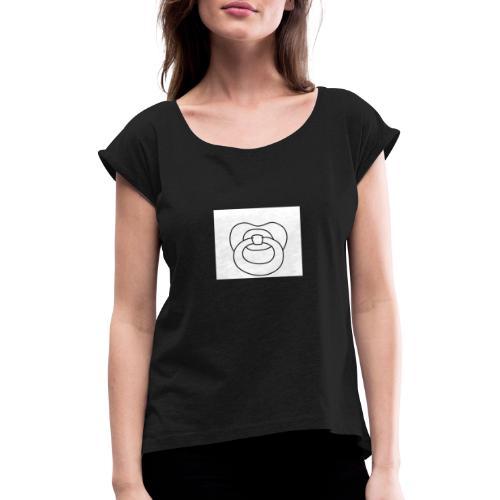 Schnuller - Frauen T-Shirt mit gerollten Ärmeln