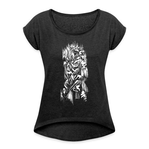 Samurai / White - Abstract Tatoo - Women's T-Shirt with rolled up sleeves