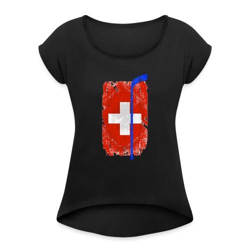 Schweizer Flagge Hockey - Frauen T-Shirt mit gerollten Ärmeln