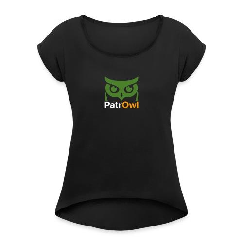 logo owl text large white - T-shirt à manches retroussées Femme