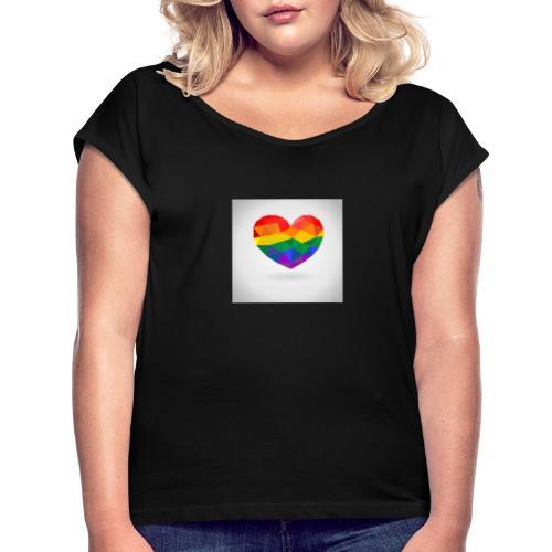 Lgbtq Herz - Frauen T-Shirt mit gerollten Ärmeln