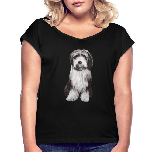 Bearded collie - T-shirt med upprullade ärmar dam