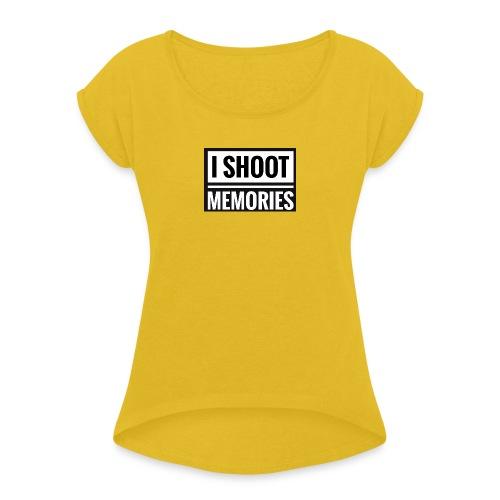 I SHOOT MEMORIES, BLACK EDITION - Dame T-shirt med rulleærmer