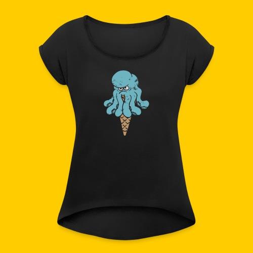 Octo blue - T-shirt med upprullade ärmar dam