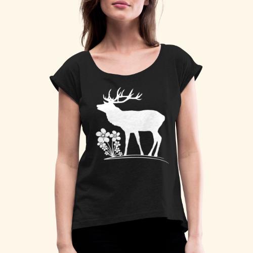 wilder Hirsch mit Blumen, Tiere, Reh, Hirsche - Frauen T-Shirt mit gerollten Ärmeln
