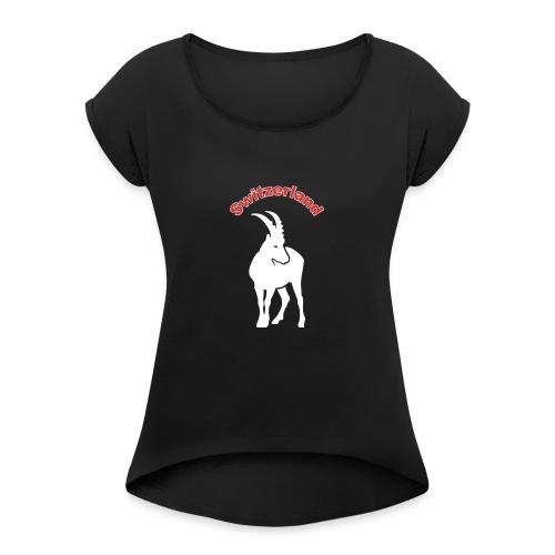 switzerland, Schweiz - Frauen T-Shirt mit gerollten Ärmeln
