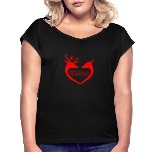 Hirsch rot - Frauen T-Shirt mit gerollten Ärmeln