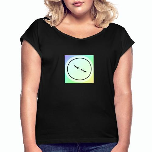 Regenbogen Augen - Frauen T-Shirt mit gerollten Ärmeln