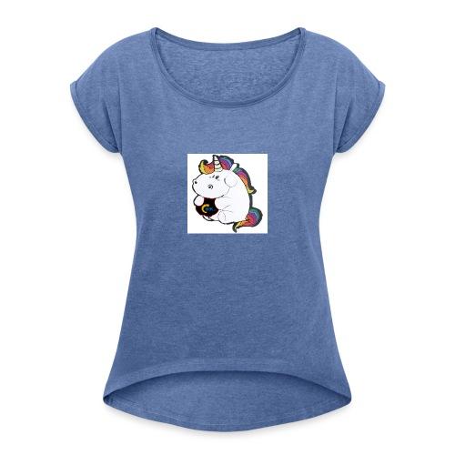 MIK Einhorn - Frauen T-Shirt mit gerollten Ärmeln