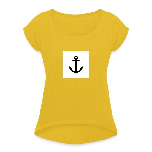hoodie met anker - Vrouwen T-shirt met opgerolde mouwen