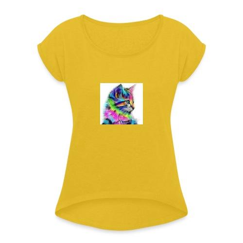 Katzen-Flower - Frauen T-Shirt mit gerollten Ärmeln