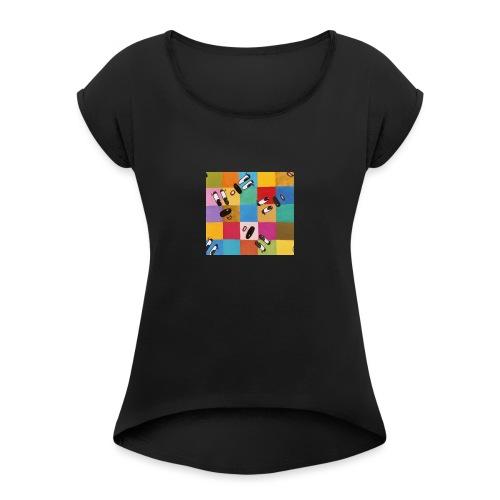 karriert - Frauen T-Shirt mit gerollten Ärmeln