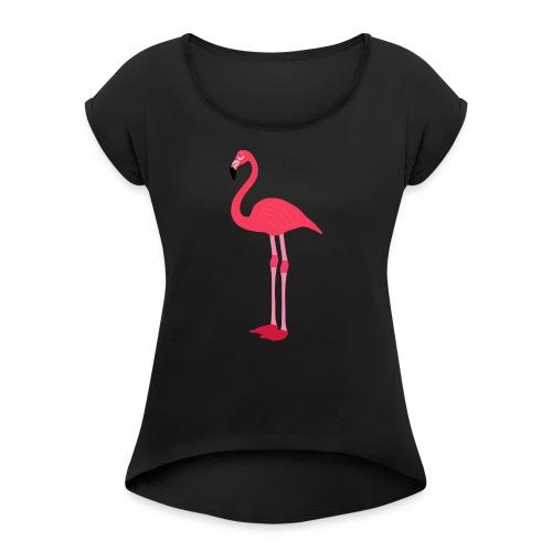 Flamingo - Frauen T-Shirt mit gerollten Ärmeln