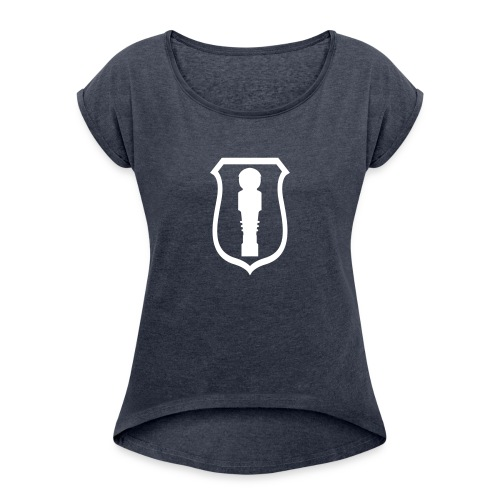 kicker_wappen - Frauen T-Shirt mit gerollten Ärmeln