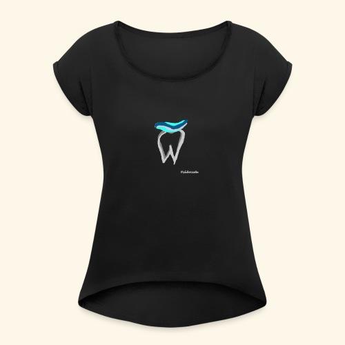 Zahn mit Pasta - Frauen T-Shirt mit gerollten Ärmeln