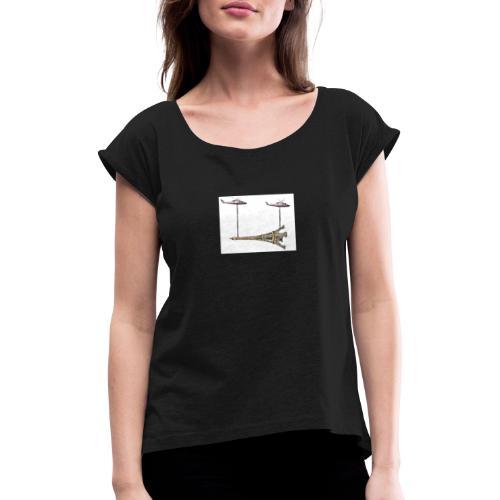 eiffelturm - Frauen T-Shirt mit gerollten Ärmeln