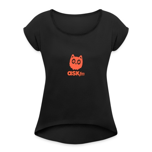 Normale mannen T-Shirt met Askfm logo. - Vrouwen T-shirt met opgerolde mouwen