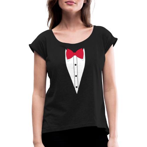 Anzug mit Fliege - Frauen T-Shirt mit gerollten Ärmeln