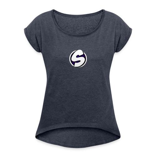 SilkyFX logo - Vrouwen T-shirt met opgerolde mouwen