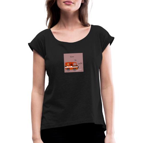 peace and love - Camiseta con manga enrollada mujer