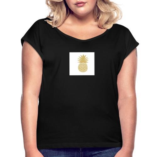 T-shirt avec ananas sur le côté - T-shirt à manches retroussées Femme