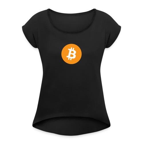 Bitcoin - Vrouwen T-shirt met opgerolde mouwen