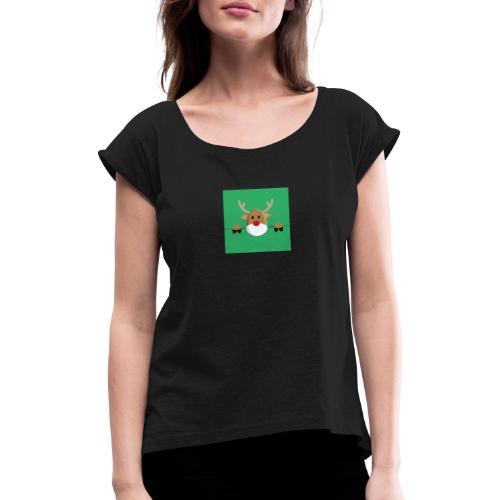 Rudolf the red nosed reindeer - Frauen T-Shirt mit gerollten Ärmeln