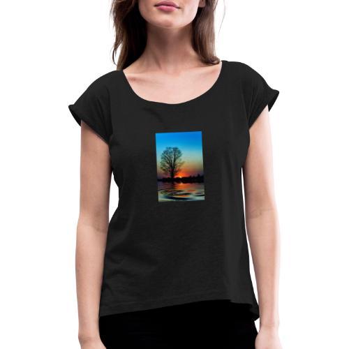 Evening - T-shirt med upprullade ärmar dam